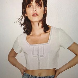 ZARA WHITE LINEN LACE TRIMMED CROP TOP